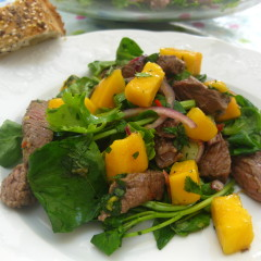 Sauté of Beef with Mango and Salad